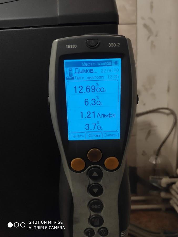 Замер данных газового котла